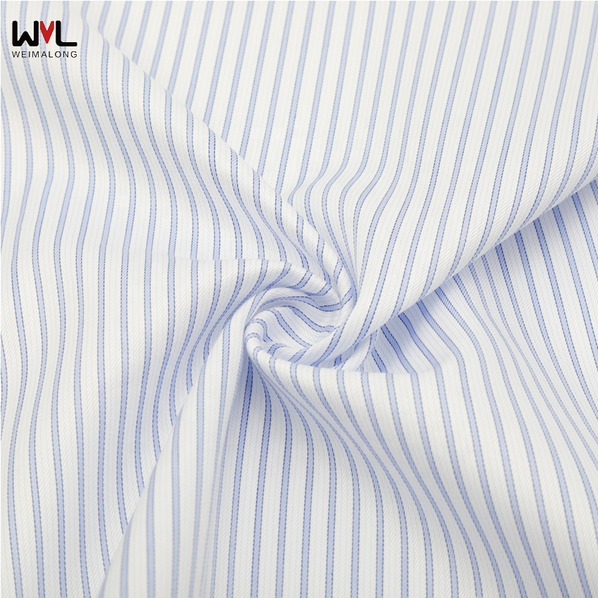 Stocklot 100S woven white and bule stripe twill cotton fabric with 120GSM