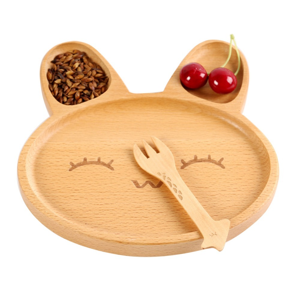 Cute Cartoon Innovative Rabbit shaped Tray Natural Bamboo Dinner Plate