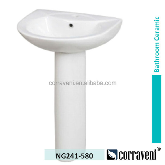 Sanitary Ware Ceramic Bathroom Washing Pedestal Basin NG241 580