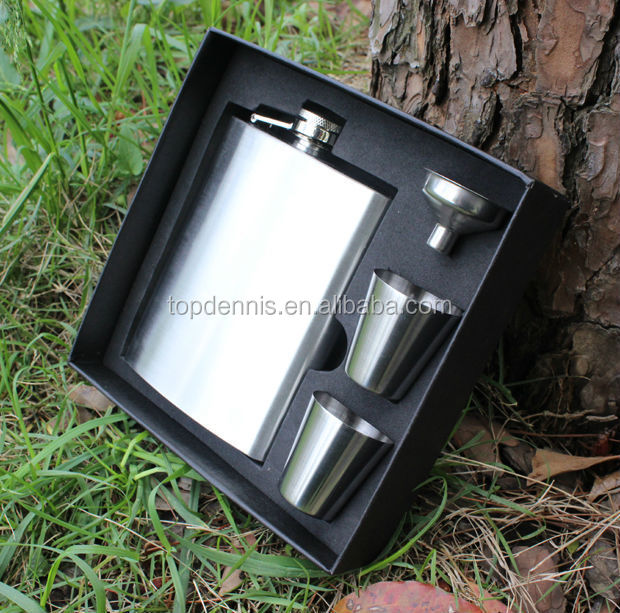 8oz stainless steel hip flask with gift box