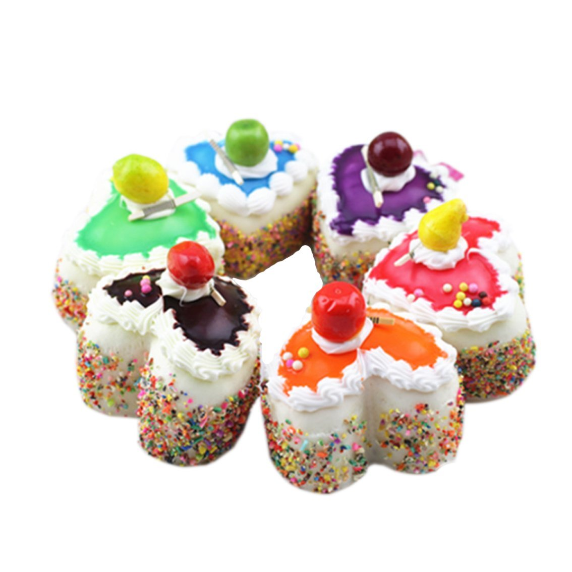 Eworld - Squishy Heart Cake Fridge Magnet - Jumbo Slow Rising Kawaii Dessert Soft Sponge Cake Cute Hand Pillow Cream Scented Squeeze Gift Hand Wrist Stress Toy