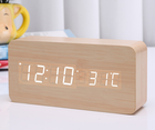 creative fashion digital alarm clock with indoor temperature and humidity digital table clock wooden desk mirror alarm clock