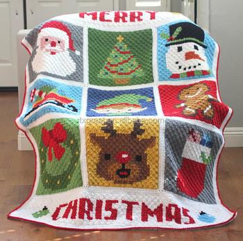 Diy Hand Knitting Crochet Christmas Character Afghan Blanket Buy