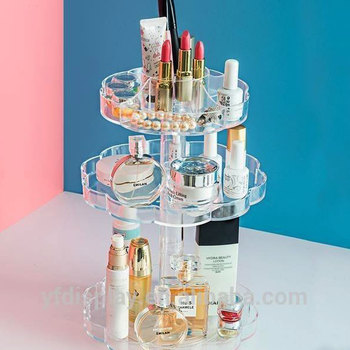 Custom Design Rotating Acrylic Cosmetics Makeup Display Stand