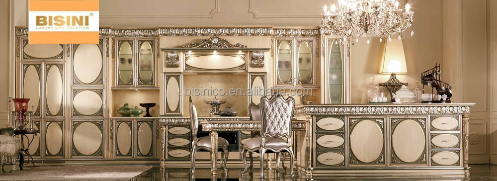 Luxury Solid Wood Carved Kitchen Cabinet With Gold Painting Victorian Style Furniture Set New Design