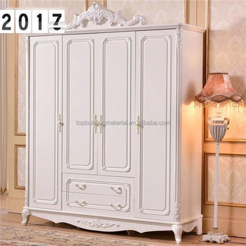 European style bedroom furniture ivory decorative 4 door wardrobe