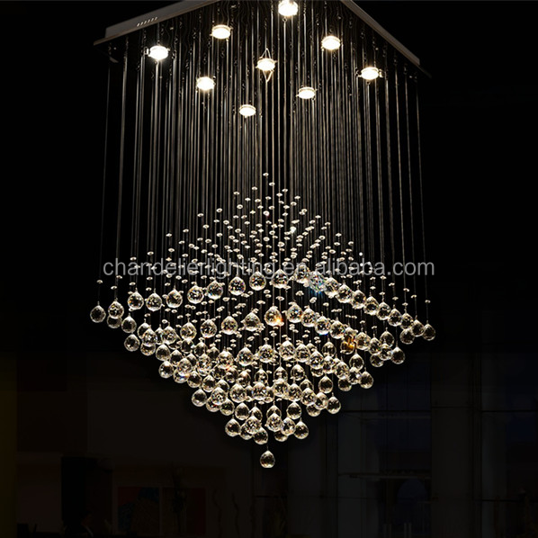 Modern Led Chandelier Living Room Dining Room Crystal Chandelier Square  Fancy Light For Project
