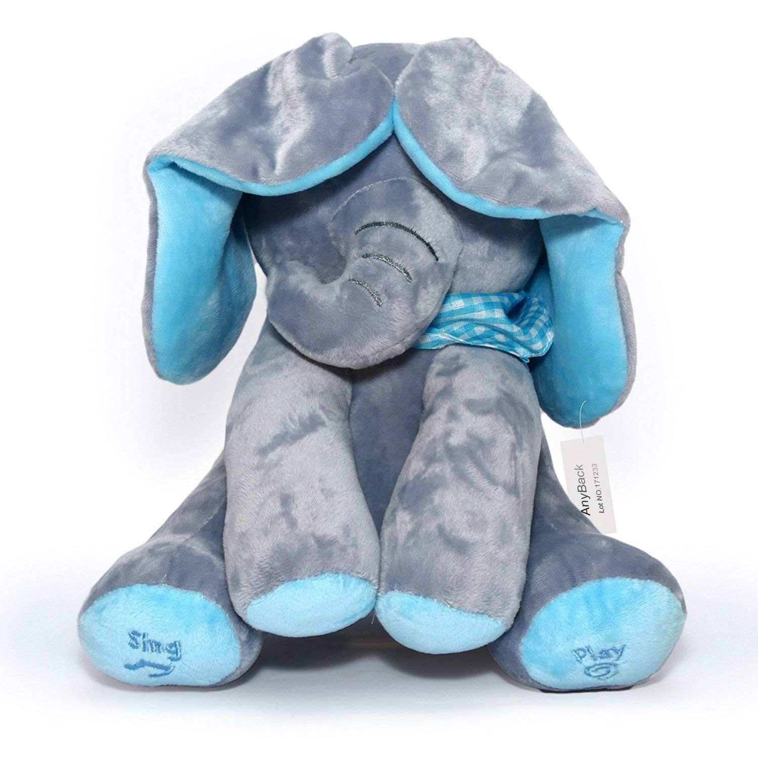 AnyBack Peek A Boo Elephant Electronic Stuffed Plush Animals Pets Toys, Hide-and-Seek Elephant Electric Plush Cute Mimicry Pet Interactive Musical Toys for Kids Boys Girls Toddlers 1 Pack Grey Blue