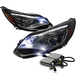 12-14 FORD FOCUS DRL LED PROJECTOR HEADLIGHT LAMP SMOKE W/10K HID KIT EURO LOOK