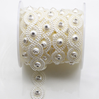 11MM flower artificial ABS Pearl Beads Lace Trimming for appliques dress rhinestone sewing on DIY craft