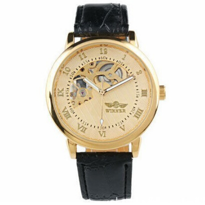 Men Black Golden Tourbillon Mechanical Skeleton Watch New Design New Automatic Watch
