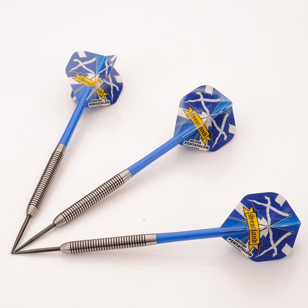 Scotland 25g Tungsten Darts Set, Blue Stems, Flights, Perfectdarts Case