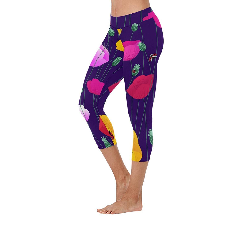 5b6f21e86a0 Get Quotations · InterestPrint Women's Capri Leggings Floral Printed Low  Rise Yoga Pants