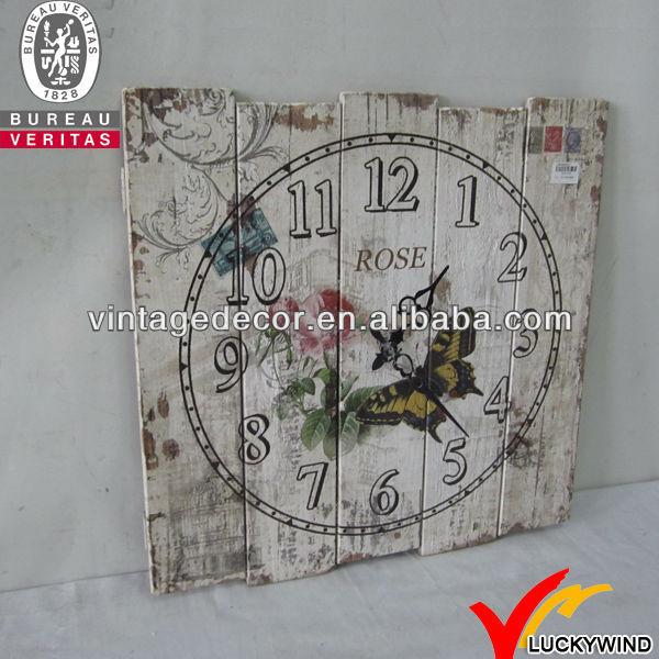 Shabby chic epoca antica quadrato di legno orologio da for Orologio shabby chic