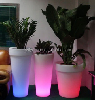 fo 9520 led tuin bloemen pot led verlichte plastic planter outdoor tall ronde