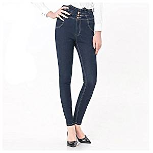 Women Jeans - TOOGOO(R)Woman's Fashion Plus Size Women High Waist Vintage Button Full Length Elastic Skinny Jeans Pencil denim Pants(Navy blue,L/US-4)