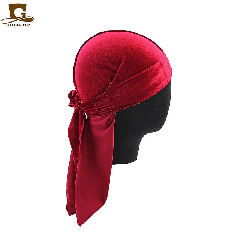 Beautiful Premium Mens Leaves Print Velvet Durags Bandanas Headwear Men Durag Turban Hat Headband Hair Cover Accessories Waves Cap Factory Direct Selling Price Men's Accessories