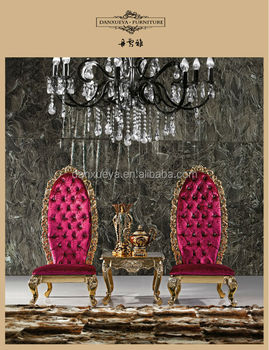 Gold Crystal Button Red King Throne Chair