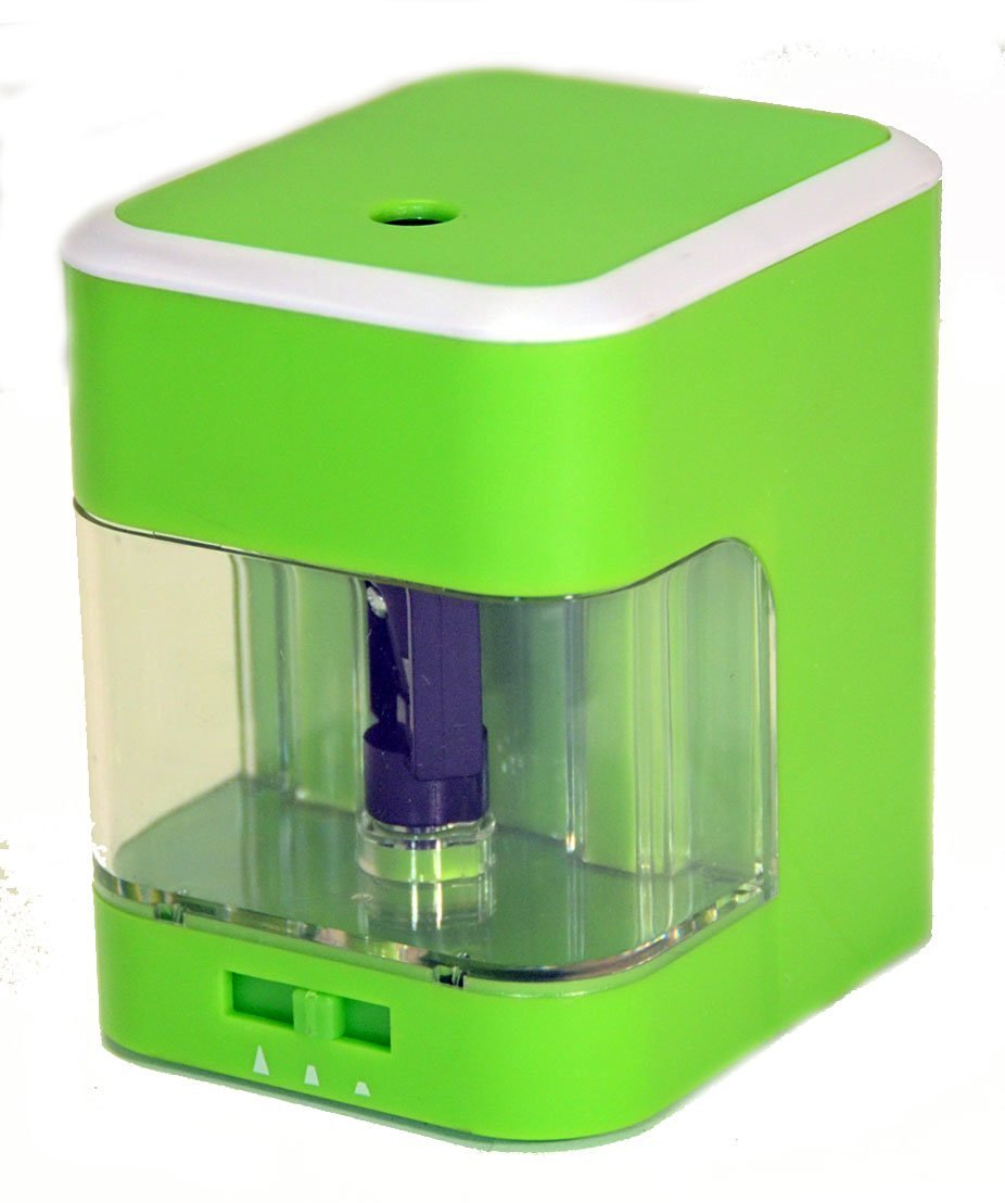 Battery Operated Desktop Pencil Sharpener, Adjustable Sharpness , Green