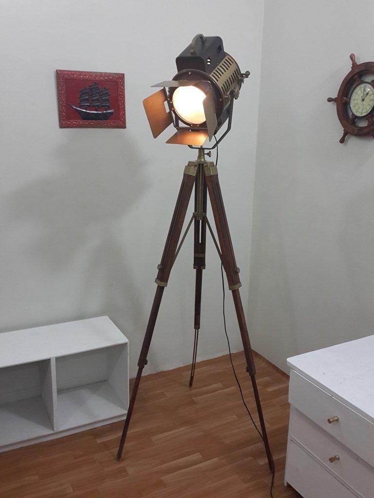 Vintage Teak Wood Tripod Floor Lamp Transit Shade Light Fixture Antique Lamp
