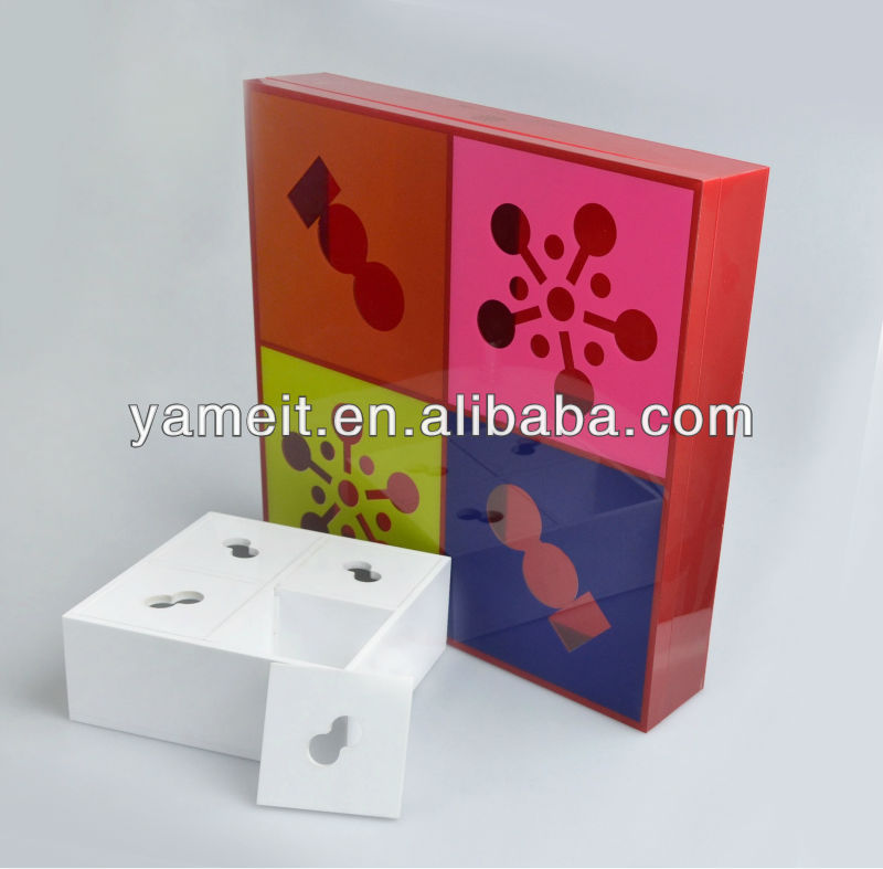 elegant Square shape decorative gift boxes acrylic mooncakes packaging
