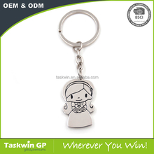 Fashion custom cheap lovely girl metal Keychain