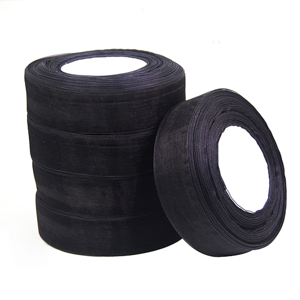 New Hotsale Best Price In Aliexpress promotion 25mm Woven Edge Organza Ribbon 6 Colors Wedding Supplies - Black