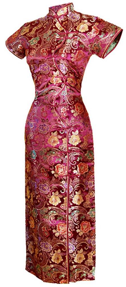 7Fairy Women's Vtg Burgundy Ten Buttons Long Chinese Dress Cheongsam