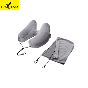 1341102 wholesale grey fashion H-Shape travel folding inflatable pillow soft neck hoodie airplane pillow support portable