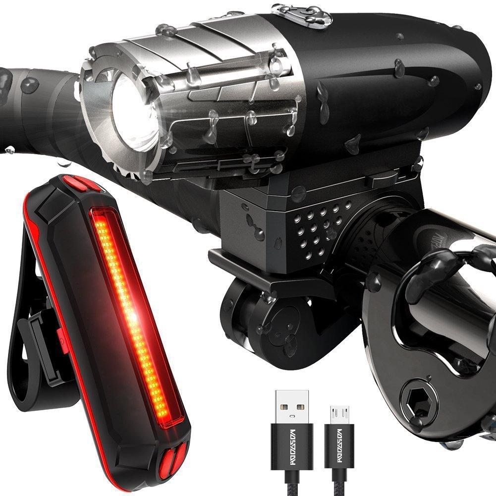 USB Rechargeable Bike Light Set, 300Lumens Bike Headlight with Rear Bike Light Included, Waterproof LED Bike Lights For Safe Cycling