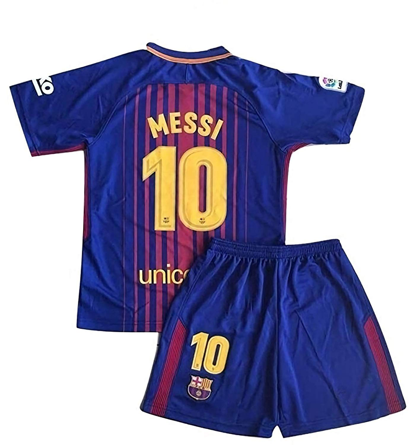 3297e7806ba Get Quotations · MensHotyo 2017 2018 Barcelona Messi 10 Kids Youths Home Soccer  Jersey Shorts