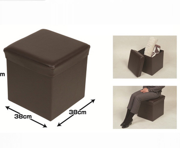 Brown PVC Foldable Storage Pouf Ottoman Storage Stool Customized Size
