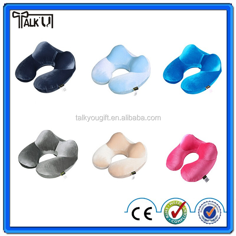 Air Inflatable Blow Up Car Travel Pillow Cushion U Shape Support Head Neck Rest Massage Pillow Inflatable Pillow