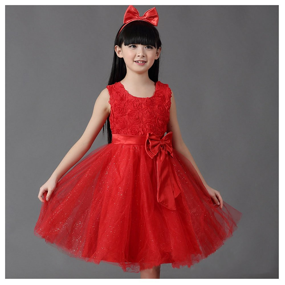 Buy Kakatm Lovely Girls One Piece Dress Flower Girl Dresses Red