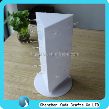 Countertop Rotating Jewelry Display Stand 3 Sided Acrylic