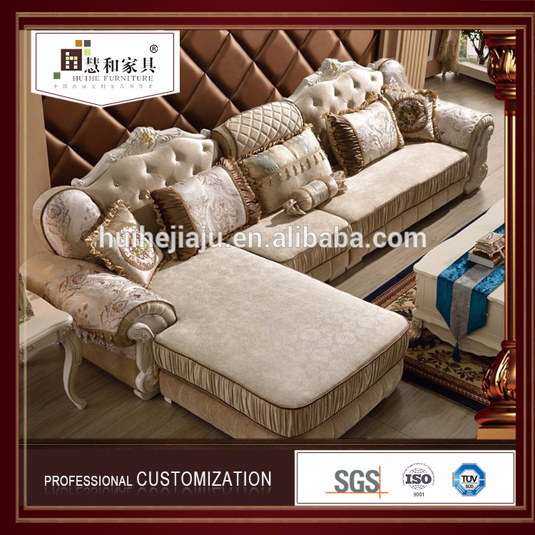 European luxury classic sofa set, villa living room fabric sofa furniture, sofa bed for sale