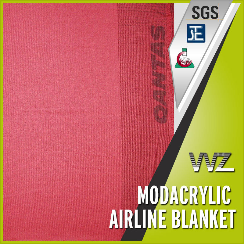 Modacrylic flame retardant woven blanket of airlines use Blanket with jacquard logo