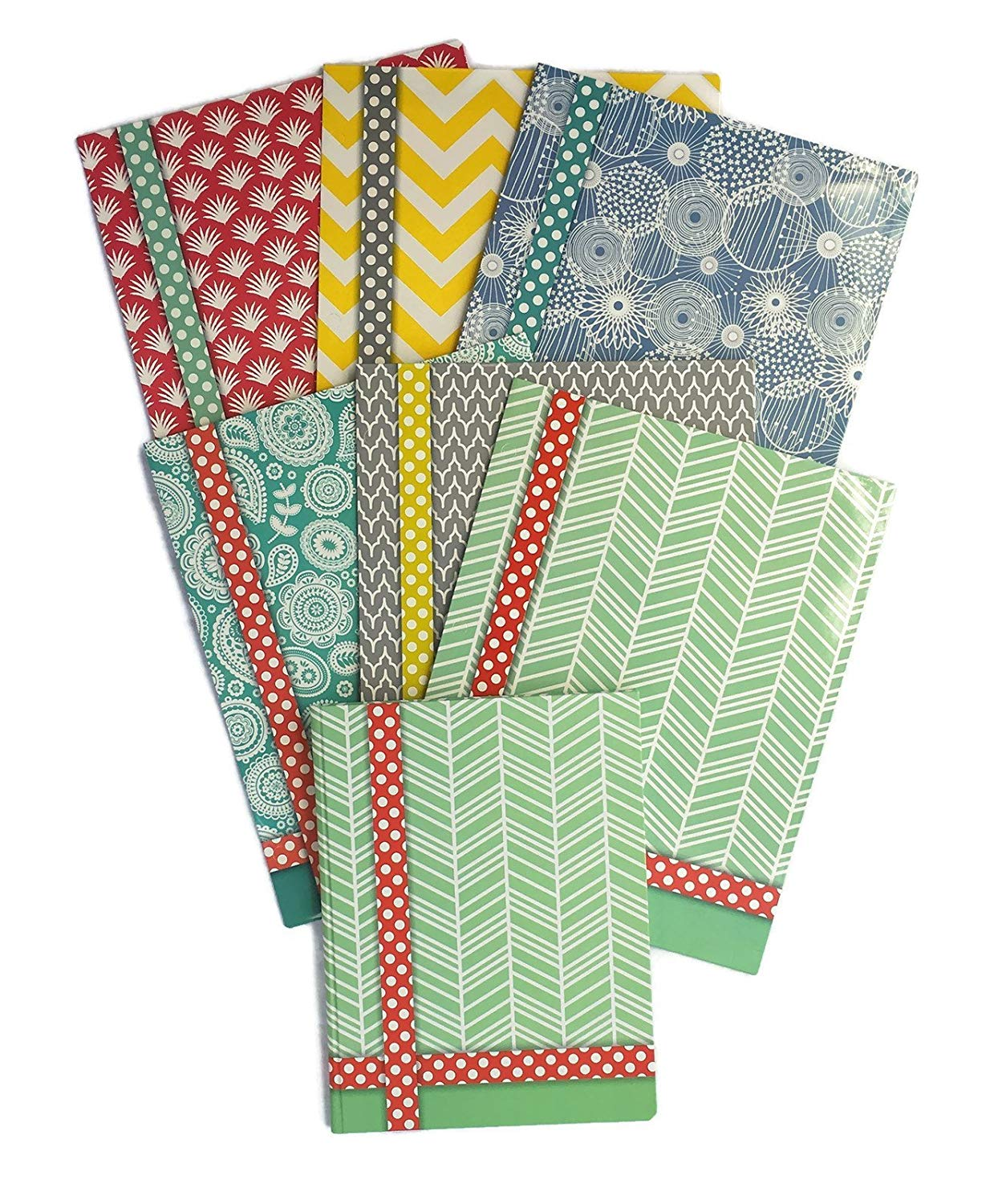Colorful Pattern Design Belle School Supply Bundle: 7 Items: Seven Assorted Belle School Subject Folders, Plus One Matching Hardcover College Ruled Composition Notebook (Green Notebook)