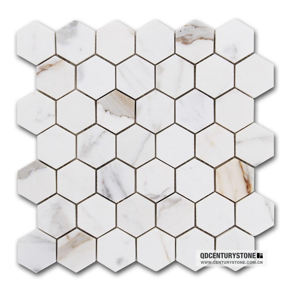 Classic Bathroom Floor Parquet 2 Calacatta Marble White Hexagon
