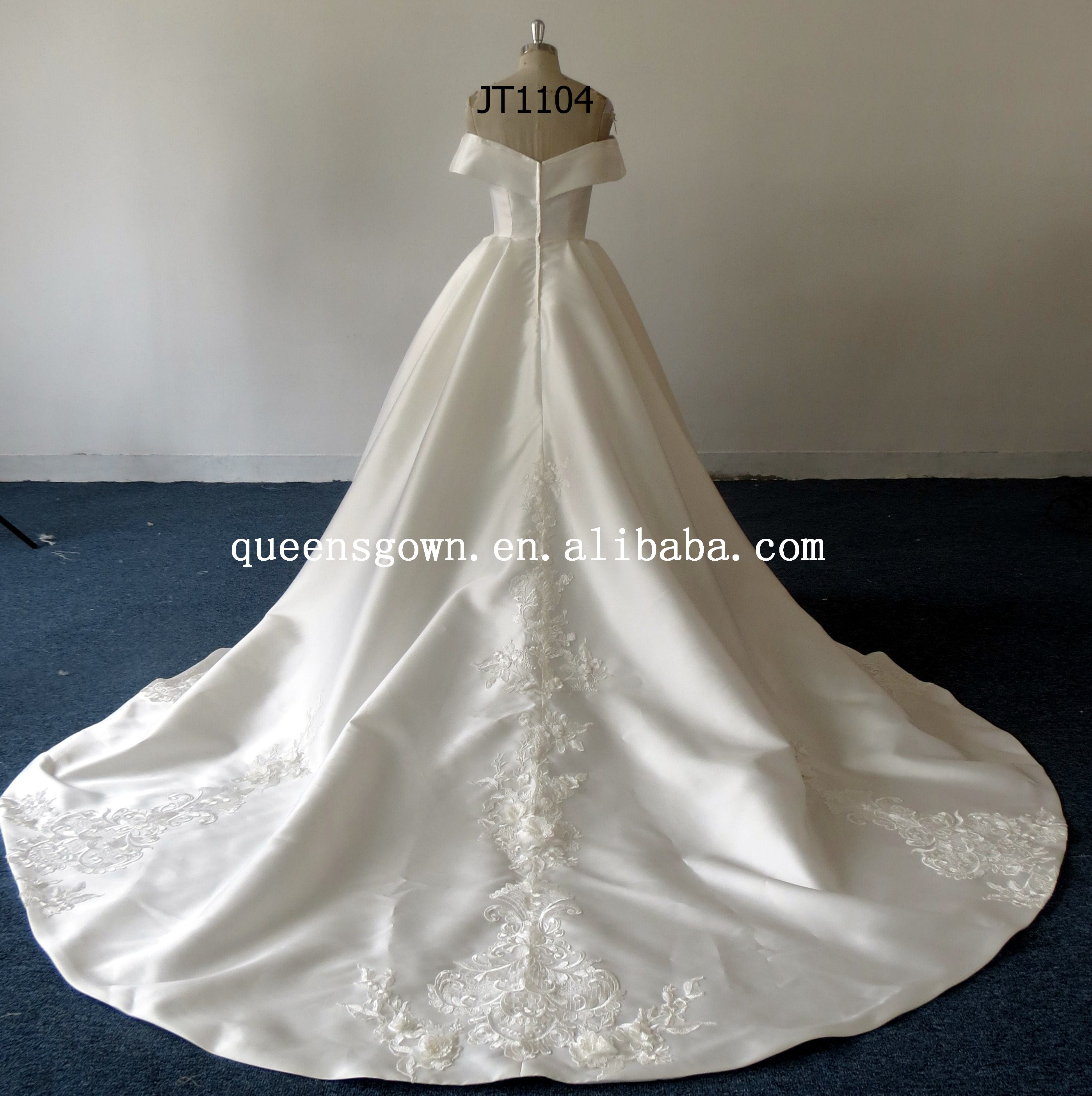 Hot sell custom made Ivory  Off shoulder sexy Floor-Length Ball Gown  Bridal Gown