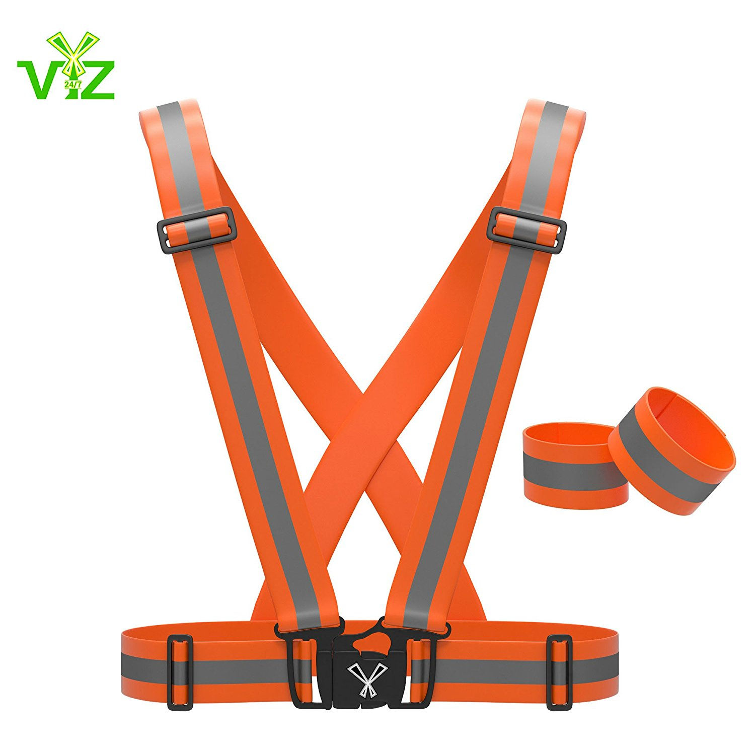 247 Viz Reflective Vest with Hi Vis Bands, Fully Adjustable & Multi-purpose: Running, Cycling, Motorcycle Safety, Dog Walking - High Visibility Neon Green, Orange & Pink By