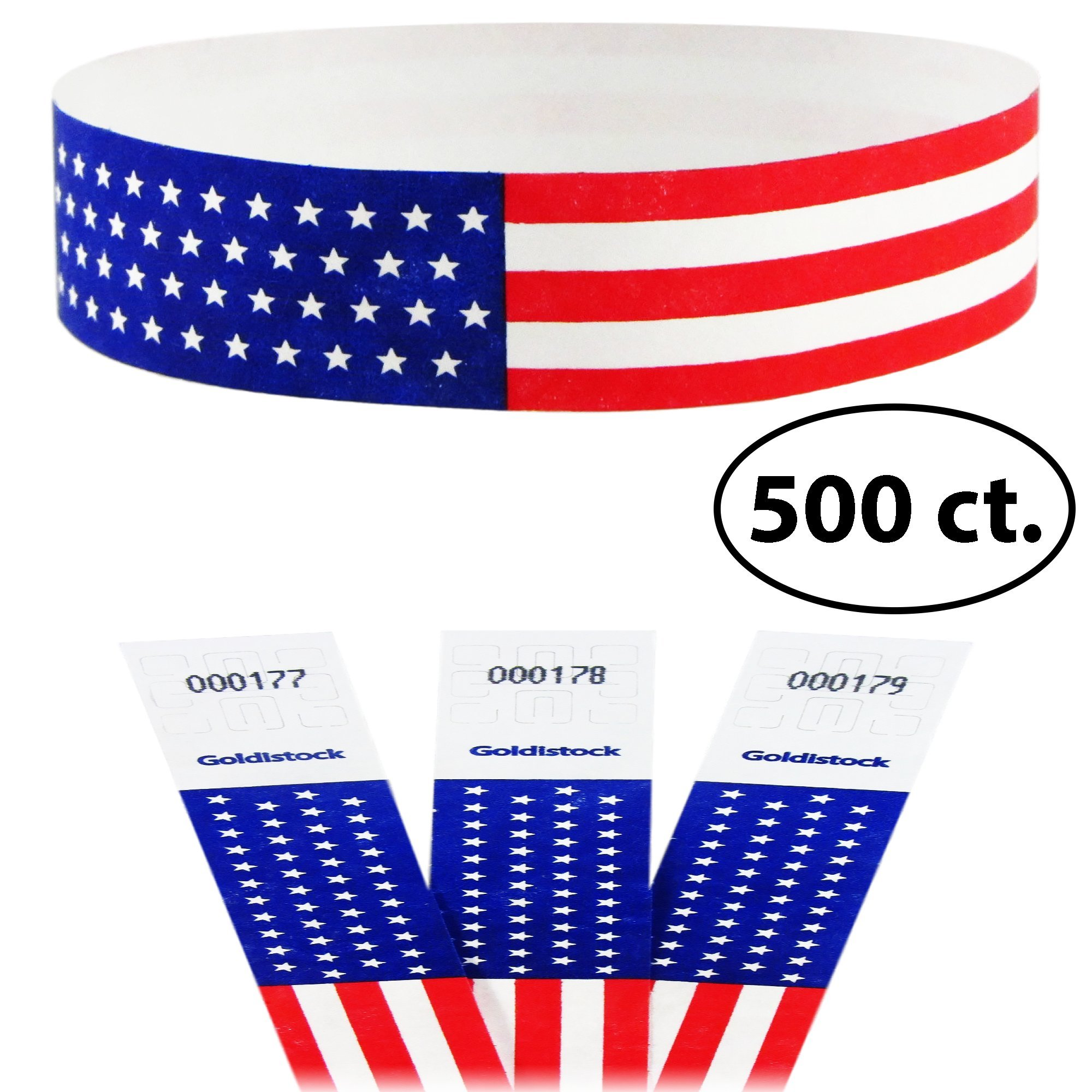 "Goldistock Select - Traditional Old Glory Flag With Stars - 3/4"" Tyvek Wristbands- 500 Count - Event Identification Bands (Paper - Like Texture)"