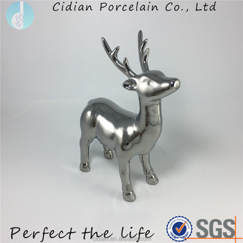 Christmas Decor Deer Ceramic Standing Reindeer Figurine Statue