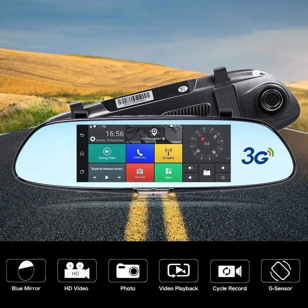 "FidgetFidget Dual Lens Car Mirror DVR GPS Video Recorder Camera Dash Cam Quad Core 3G WiFi 7"""