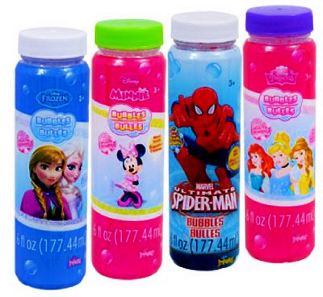 Disney Character Blow Bubbles with Wands; Frozen, Princesses, Minnie Mouse, and Marvel Spider-Man, 4-ct Set