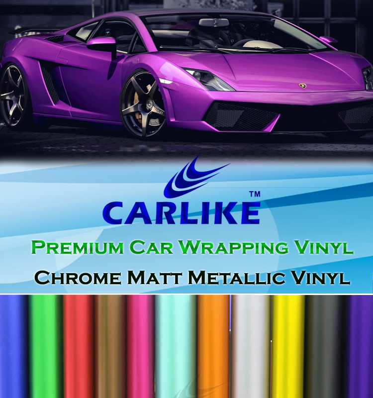 Chrome matt metallic full car body sticker paper car wrap vinyl film