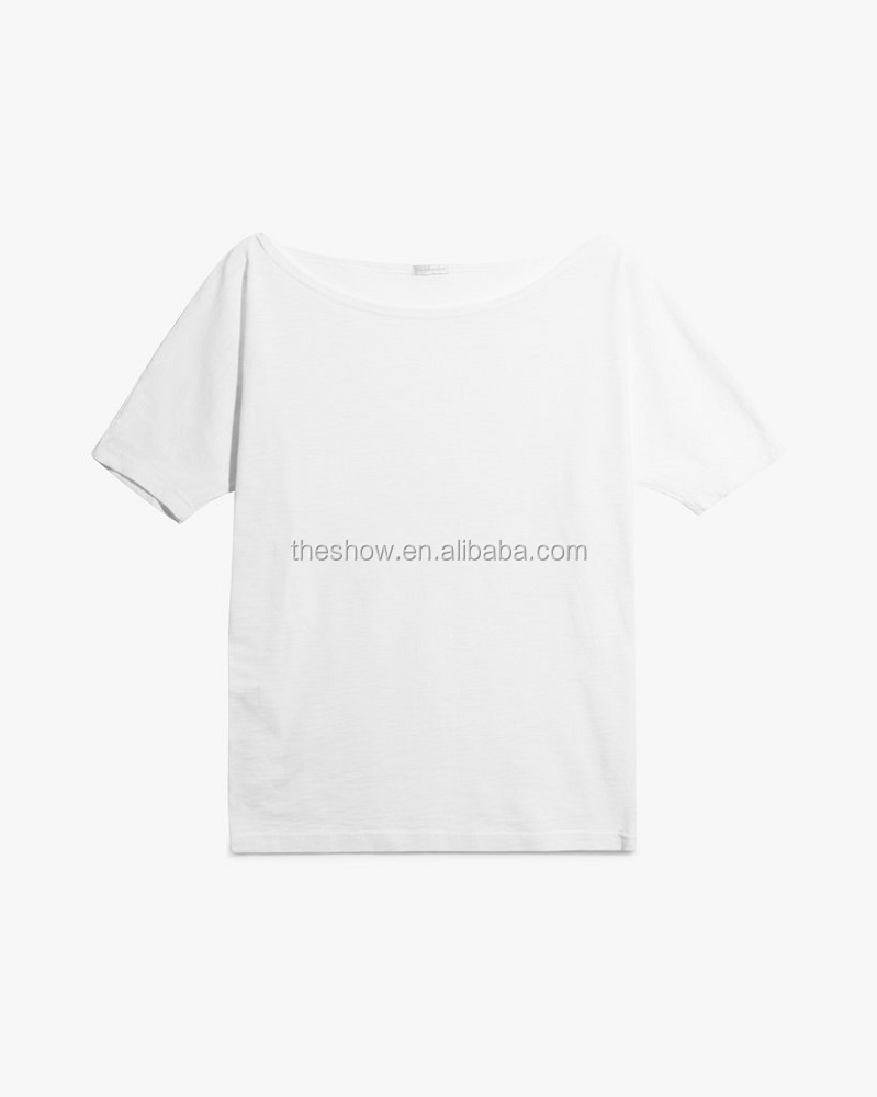 a19fbe526d7f Wholesale Good Quality Custom 100% Cotton Slub Fabric Off Shoulder Loose T- shirt