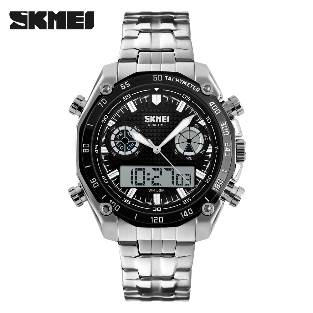 SKMEI 1204 Big discount Stainless Steel Digital and Quartz double movement Watch Men's Watch фото