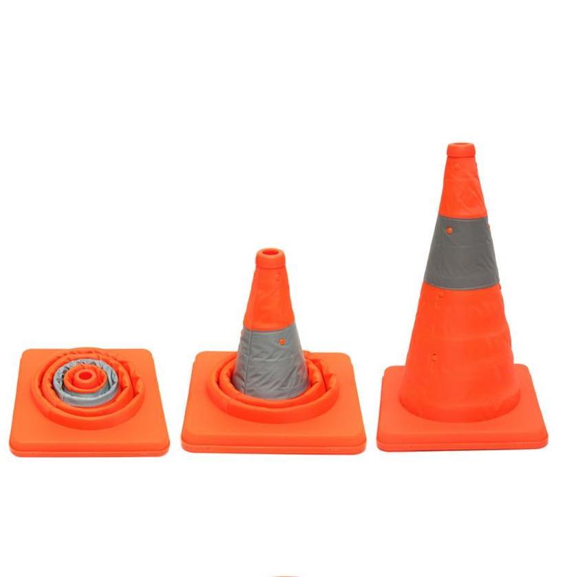 2020ผลิตภัณฑ์ใหม่พับเก็บได้สีส้มพีวีซีพลาสติกความปลอดภัยกรวยจราจร