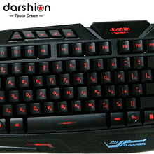 Free shipping LED 3-Color Switch backlit keyboard USB Wired backlight breathing Gaming PC  Russian and English fingerboard